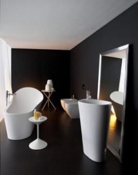 Salle de bain contemporaine noire