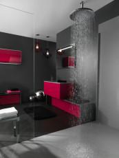 pomme de douche ronde contemporaine ambiance bain