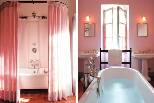 salle de bain rose romantique nicolas millet douche italienne. Black Bedroom Furniture Sets. Home Design Ideas