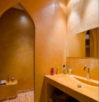 salle de bains jaune hammam patrick smith douche italienne. Black Bedroom Furniture Sets. Home Design Ideas
